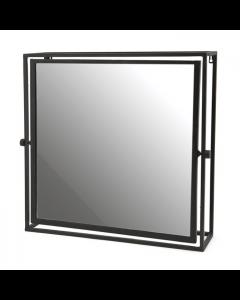 Spiegel vierkant 52 bij 50 cm zwart