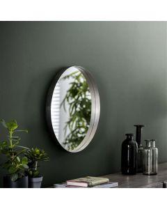 Spiegel rond met opstaande rand 50 cm doorsnee antiek metaal