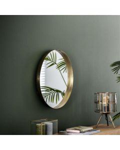 Spiegel rond met opstaande rand 50 cm doorsnee goud metaal