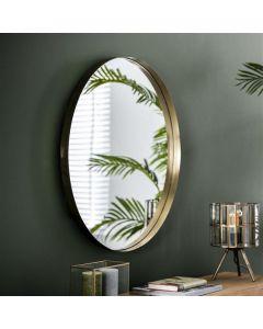 Spiegel rond met opstaande rand 75 cm doorsnee goud metaal