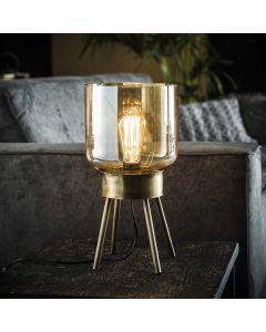 Tafellamp 4-poot amber glas 1L aan
