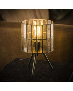 Tafellamp artdeco tripod ronde kap lamp aan