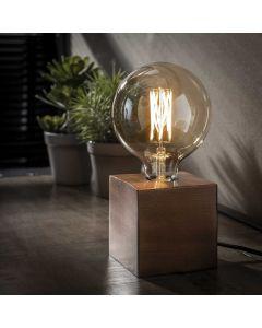 Tafellamp vierkant Block antiek koper finish 10 x 10 cm