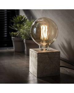Tafellamp vierkant Block antiek nikkel 10 x 10 cm