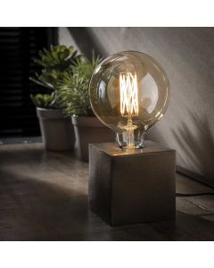 Tafellamp vierkant Block zwart nikkel 10 x 10 cm