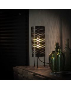 Tafellamp cilinder geperforeerd zwart metaal 18 cm rondaan