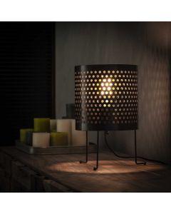 Tafellamp cilinder klein geperforeerd zwart metaal 22 cm rond