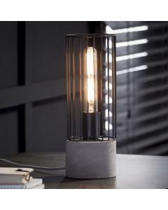 Tafellamp cilinder wire frame rond 12 cm met betonnen voet aan
