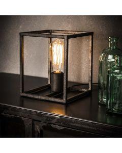 Tafellamp Cubic metalen kubus van vierkant buisframe zilveren finish