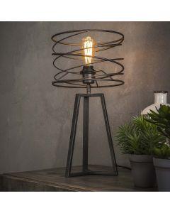 Tafellamp Curl 27 cm doorsnee antraciet/grijsmetaal driepoot