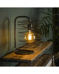 tafellamp in combinatie met de vloerlamp Curl cylinder charcoal metaal