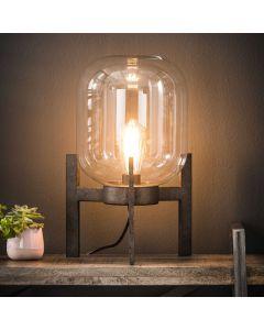 Tafellamp Glas support met metalen industrieel frame oud zilver