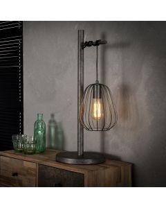 Industriële tafellamp Lampoon 1 lichts metaal oud zilver look