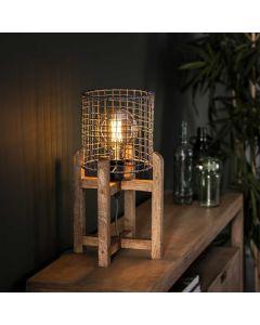 Tafellamp Mesh kap support-houten frame 1L