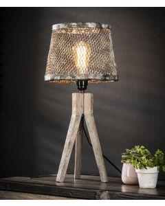 Tafellamp massief houten driepoot en kap van verweerd gaas lamp aan