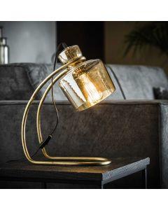 Tafellamp met sledepoot en glazen kap lamp aan