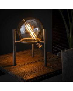 Tafellamp Saturn metaal oud zilver lamp aan