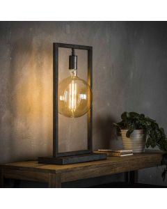 Tafellamp Sky met rechthoekig frame oud zilver lamp aan