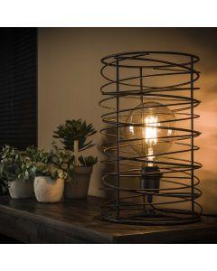 Tafellamp spiraal 22 cm doorsnee cilinder zwart bruin metaal lamp aan