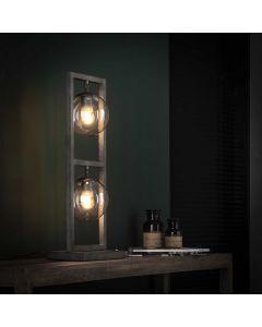 Tafellamp tower 2 lichts met glazen bollen 15 cm rond oud zilver