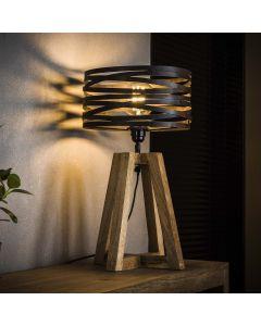 Tafellamp twist houten kruisframe 1L met ronde metalen getwiste kap