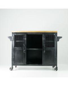 Dressoir 120 cm breed van zwart metaal en mangohout op wielen