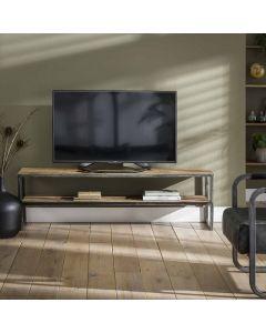 Sfeerfoto Tv-meubel 130 cm Grained robuust hardhout & metaal