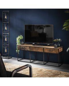 Tv-meubel Float 3 lades hardhout 135 cm breed