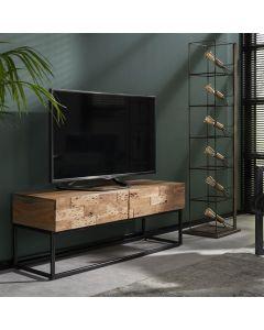 Tv-meubel Mill 2 lades acaciahout & zwart metalen frame
