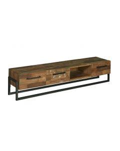 Tv dressoir Potenza 200 cm teakhout met open vak en een metalen kokerframe