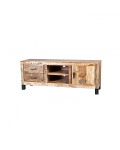 Tv dressoir 150 cm mangohout Ventura met 1 deur en 2 laden