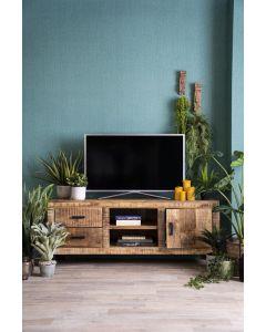 Tv dressoir Ventura 150 cm mangohout met zwarte metalen poten en 2 laden
