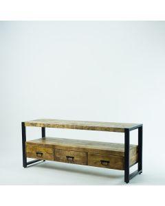 Tv meubel 150 cm breed mangohout met 3 lades en zwart metalen poten