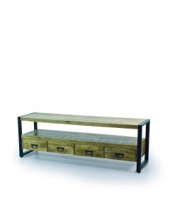 Tv meubel 180 breed mangohout  zwart metalen poten en 4 lades