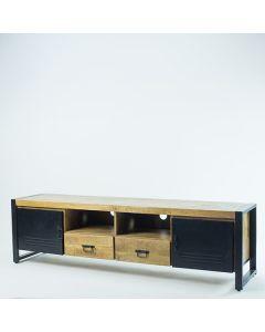 Tv meubel 200 cm breed mangohout met deuren en zwart metalen poten