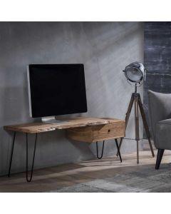 Tv-meubel Edge 120 cm breed acaciahout & zwart metalen hairpinpoten