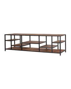 Tv meubel Soho 180 cm mangohout met zwart metaal en open vakken