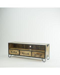 Tv meubel 180 cm mangohout met open vak en metalen handgrepen