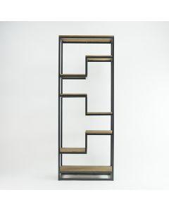 Vakkenkast Herman teakhout en zwart metalen frame