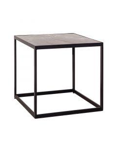Vierkante bijzettafel Eleonora zwart marmer 50 x 50 x 50