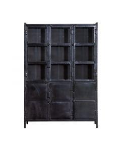 Vitrinekast 3 deurs Industrieel Eleonora zwart metaal 125 cm breed