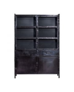 Vitrinekast 125 cm Industrieel Eleonora zwart metaal met lades en deuren