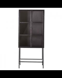 Vitrinekast 85 cm breed Ventana By-boo zwart metaal met 2 glasdeuren