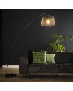 Vloerlamp 1L boog Gauze charcoal metaal