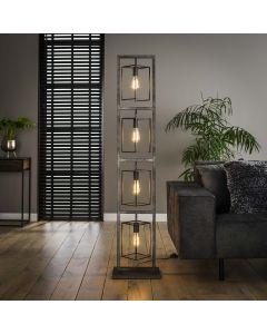 Vloerlamp 4 lichts Cubic tower metaal in een oude zilveren look