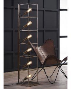 Vloerlamp cube  6 lichts rechthoekige stalen frame  brons antiek