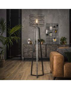 Industriële vloerlamp Curl 40 cm rond 1L metaal antraciet/grijs