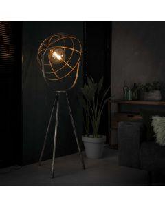 Industriële vloerlamp Dome 60 cm rond op metalen driepoot