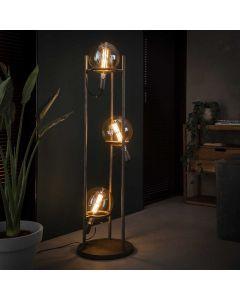 Vloerlamp drielichts saturn metaal oud zilver lamp aan