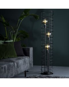 Vloerlamp drielichts spiraal 28 cm doorsnee cilinder zwart bruin metaal lamp aan